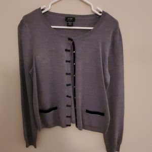 Gray Bow Button Sweater